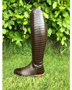 Konig Palermo Dressage with Stiffener Brown Croco Size 4.5, 52/45 height 37 calf